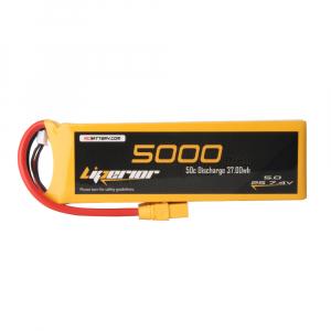 Liperior 5000mAh 2S 50C 7.4V Lipo Battery With XT90 Plug